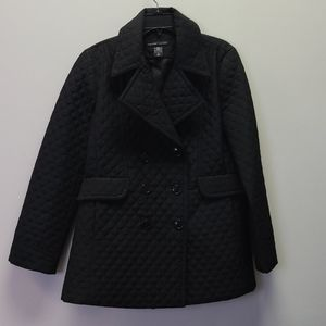 New York & Co Quilted Black Coat L